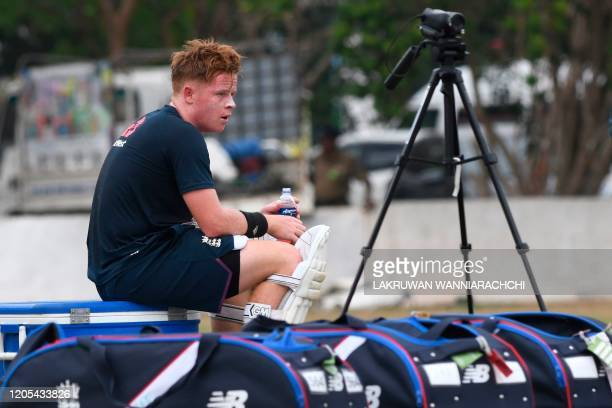 England's Ollie Pope attends a practice session at the Marians Cricket Club Ground in Katunayake on March 6 2020 England will play two test matches...