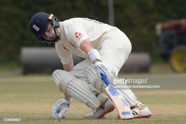 England's Ollie Pope runs between the wickets during the second day of a four-day practice match between Sri Lanka Board President's XI and England...