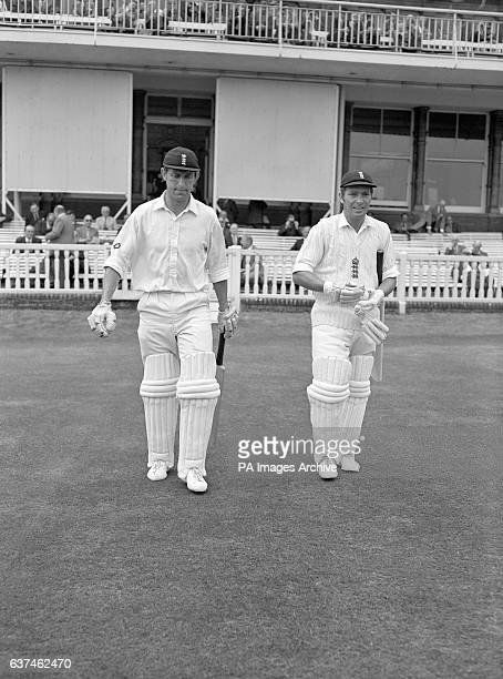 England's opening batsmen Brian Luckhurst and Alan Jones make their way to the crease