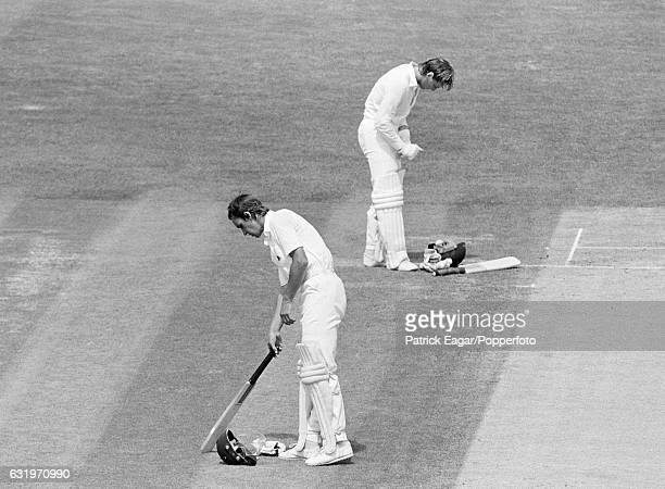 England's opening batsmen Chris Tavare and Graeme Fowler taking a break during the 1st Test match between England and New Zealand at the Kennington...