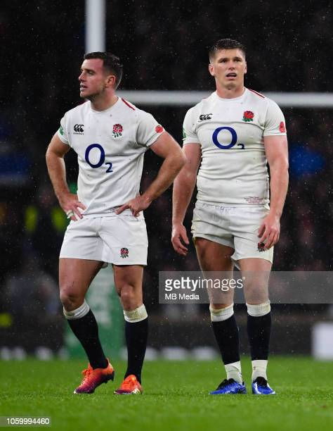 England's Owen Farrell and George Ford look on during the Quilter International match against New Zealand at Twickenham Stadium on November 10 2018...