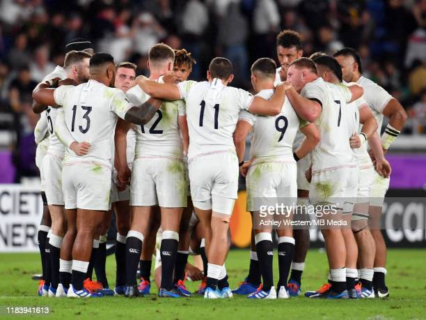England's Owen Farrell calls his team together before taking the half time break in the Rugby World Cup 2019 SemiFinal match between England and New...