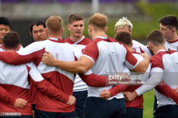 England's Owen Farrell calls the squad together during the England training session at Fuchu Asahi Football Park on October 29 2019 in Tokyo Japan