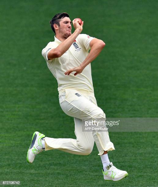 England's paceman Craig Overton bowls against Cricket Australia XI batsman Daniel Fallins on the last day of a fourday Ashes tour match at Adelaide...
