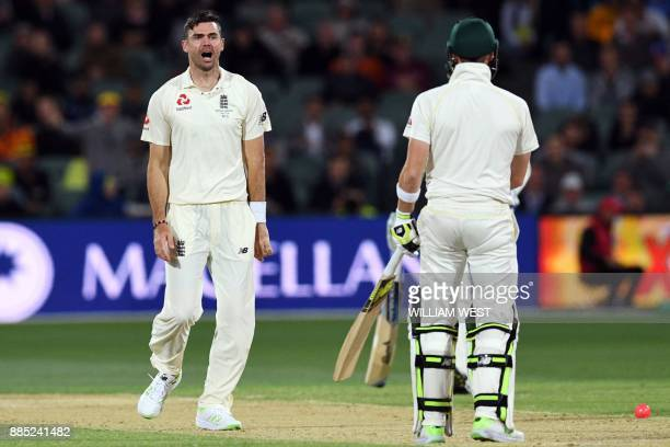 England's paceman James Anderson reacts as he believes he has Australia's batsman Steve Smith out LBW on the third day of the second Ashes cricket...