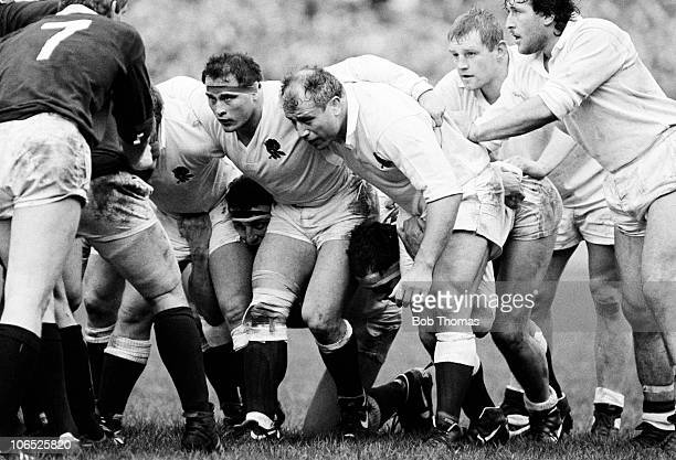 England's pack is led by Brian Moore and Paul Rendall during their Rugby Union International match against Scotland held at Twickenham London on 4th...