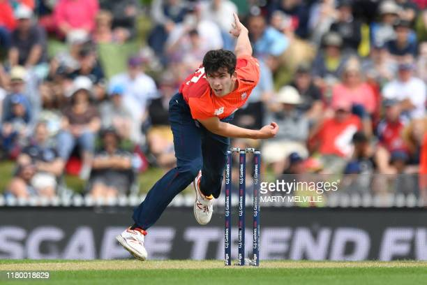 England's Pat Brown bowls during the Twenty20 cricket match between New Zealand and England at Saxton Oval in Nelson on November 5 2019