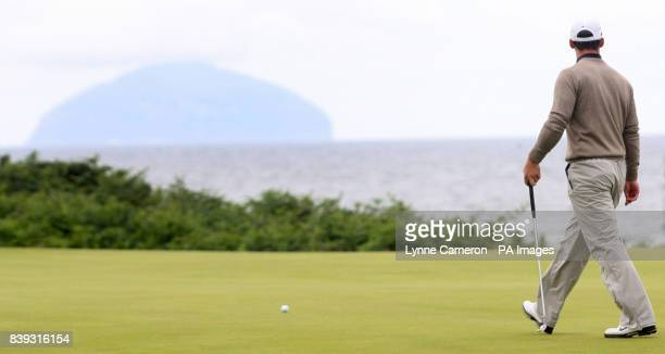 England's Paul Casey with Ailsa Craig Island in the background during the third round of the Open Championship 2009 at Turnberry Golf Club Ayrshire
