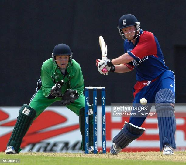 England's Paul Collingwood hits the ball for 6 runs during the ICC Cricket World Cup Super Eights match at the Guyana National Stadium Georgetown...