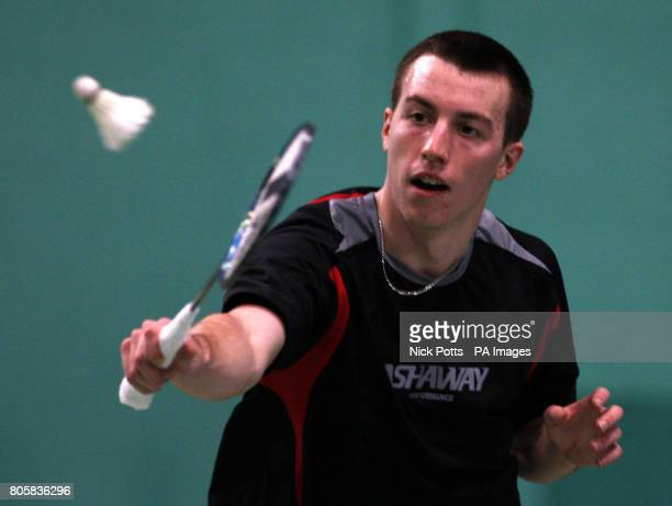 England's Peter Mills practices during the photocall at the National Badminton Centre Milton Keynes