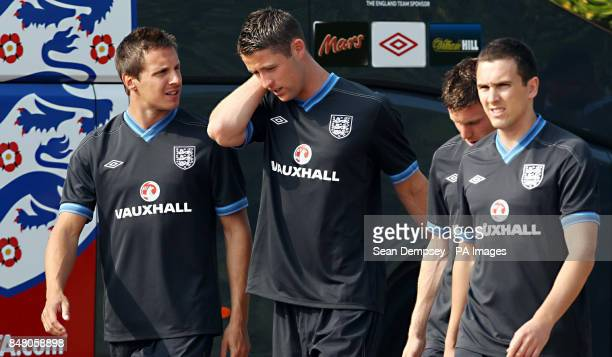 England's Phil Jageilka Gary Cahill James Milner and Stewart Downing during a training session at London Colney Hertfordshire