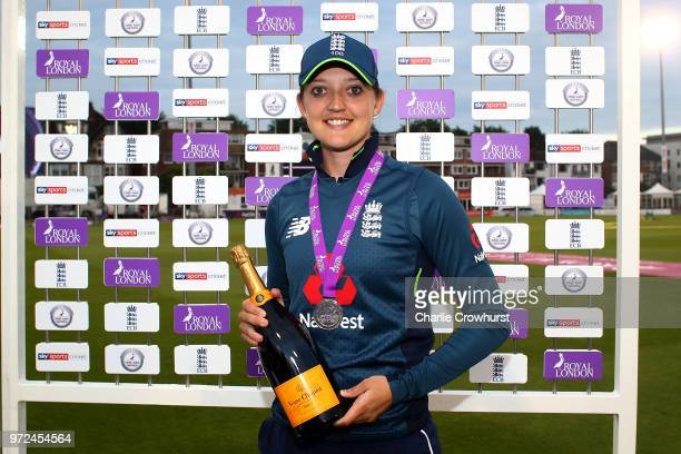 England's player of the match Sarah Taylor poses with her award during the ICC Women's Championship 2nd ODI match between England Women and South...