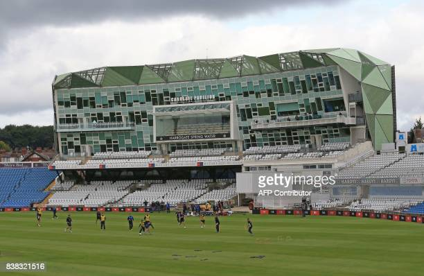 England's players attend a nets practice session at Headingley cricket ground in Leeds northern England on August 24 ahead of the second Test match...