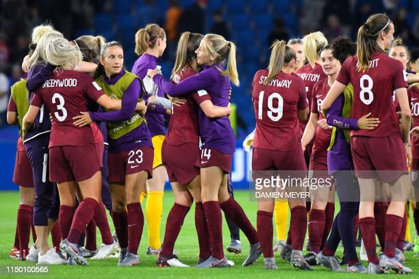 England's players celebrate after winning the France 2019 Women's World Cup Group D football match between England and Argentina on June 14 at the...