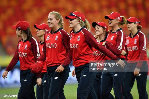 England's players celebrate their victory against West Indies during the Twenty20 women's World Cup cricket match between England and West Indies in...