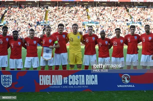 England's players England's striker Marcus Rashford England's defender Danny Rose England's striker Jamie Vardy England's midfielder Jordan Henderson...