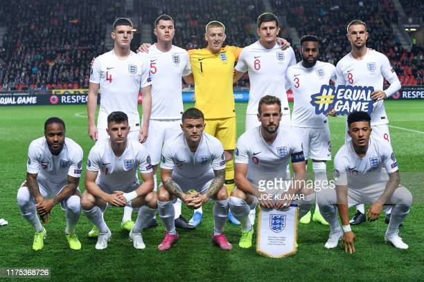 England's players pose for a picture prior to the UEFA Euro 2020 qualifier Group A football match Czech Republic v England at the Sinobo Arena on...