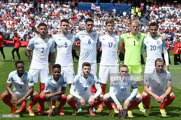 England's players pose for a team photo prior to the Euro 2016 group B football match between England and Wales at the BollaertDelelis stadium in...