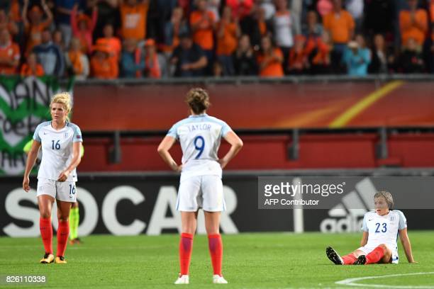 England's players react after losing the UEFA Womens Euro 2017 football tournament semifinal match between Netherlands and England at the FC Twente...