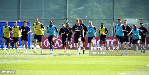 England's players take part in a training session in Stadium Spartak in Zelenogorsk on June 14 ahead of the Russia 2018 World Cup football tournament