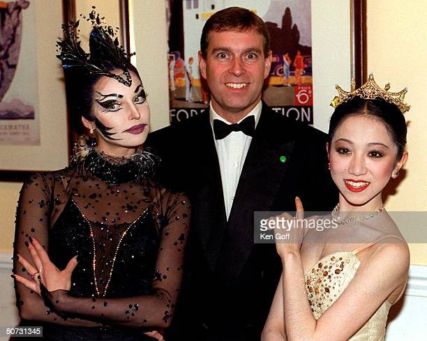 England's Prince Andrew w two dancers from the English National Ballet Erina Takahashi and Anastasia Volochkova after attenting a gala of The...