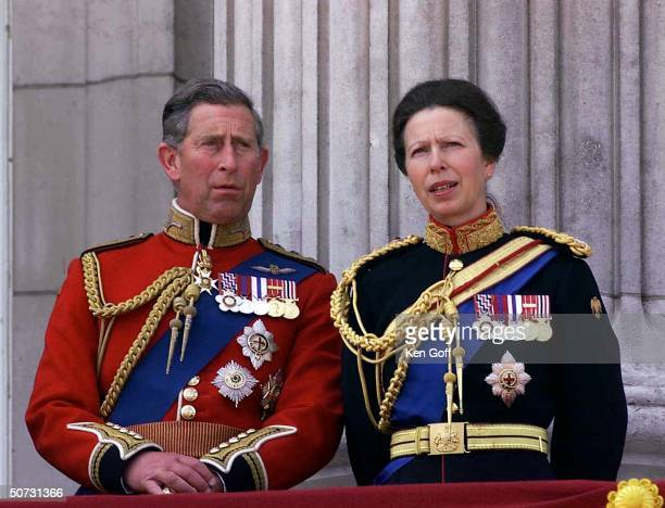 England's Prince Charles & Princess Anne on balcony during trooping of the Colour ceremony at Buckingham Palace.