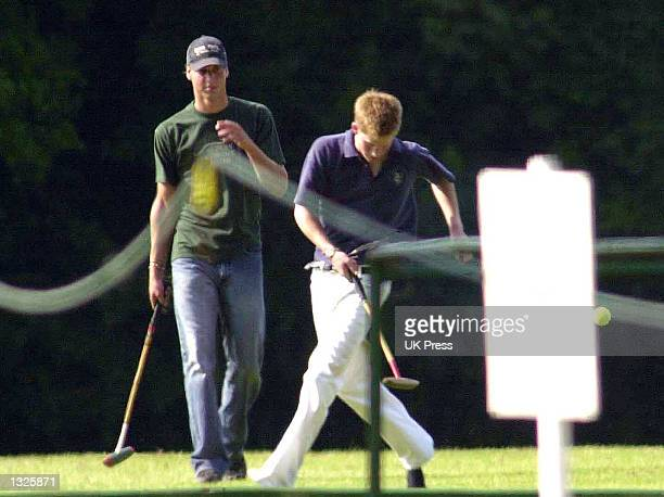 England''s Prince William left and Prince Harry attend the Mountbatten Polo Trophy June 24 2001 at Cirencester Park Polo Club in Gloucestershire...
