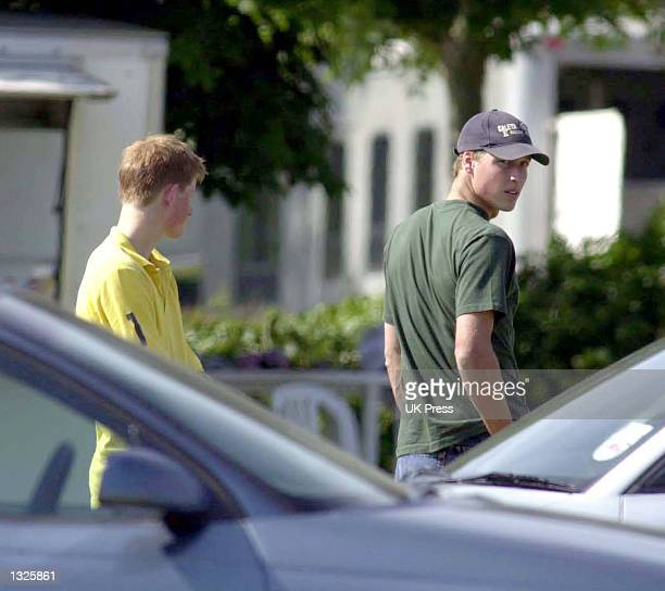England''s Prince William right and Prince Harry attend the Mountbatten Polo Trophy June 24 2001 at Cirencester Park Polo Club in Gloucestershire...