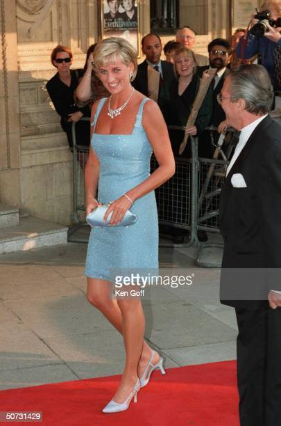 England's Princess Diana arriving in short light blue dress at the Royal Albert Hall for a performance of Swan Lake by the English National Ballet