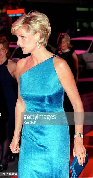 England's Princess Diana in long blue oneshouldered gown at Gala evening on the first night of her visit to Australia