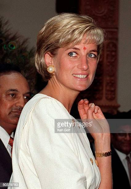 England's Princess Diana looking happy at the Swaminarayan Hindu Mission Neasden