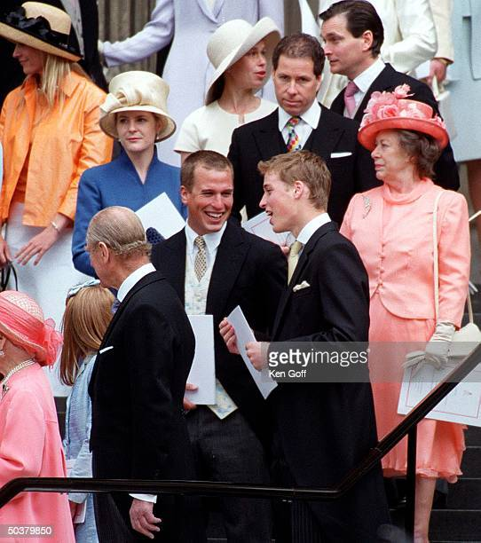 England's Princess Margaret w. Prince William , Peter Phillips , Prince Philip , Viscount Linley & wife Serena & Sarah Armstrong-Jones & husband...