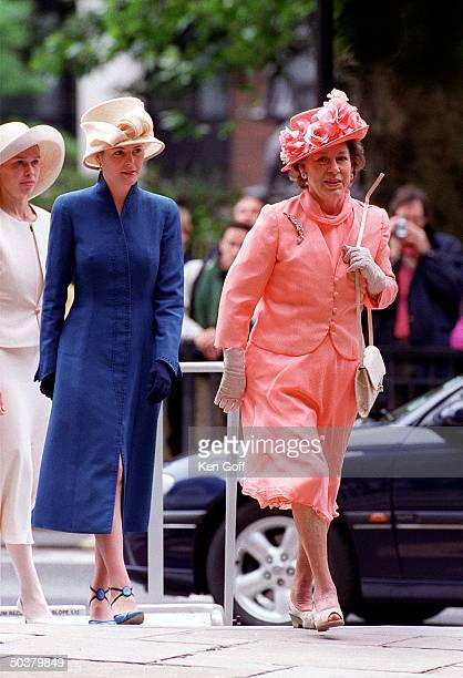 England's Princess Princess Margaret followed by Serena Linley and Sarah Chatto arriving for National Service of Thanksgiving for Queen Mother's...