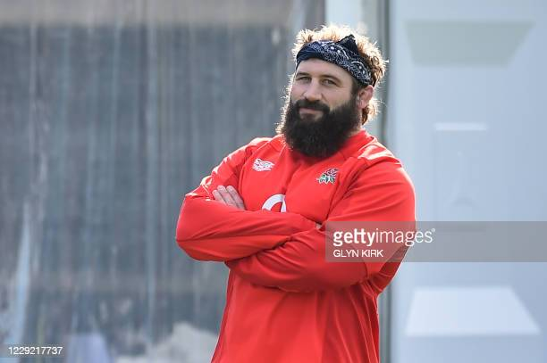 England's prop Joe Marler attends a training session at the Lensbury Hotel in Teddington, South West London on October 22, 2020 ahead of their match...