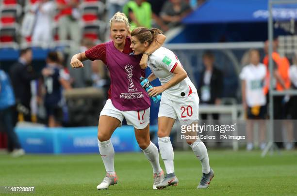 England's Rachel Daly Karen Carr celebrate after the final whistle during the FIFA Women's World Cup Group D match at the Stade de Nice