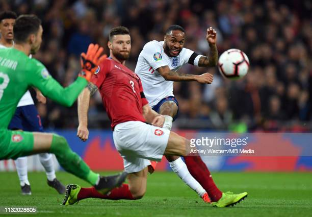England's Raheem Sterling scores his side's third goal during the 2020 UEFA European Championships group A qualifying match between England and Czech...