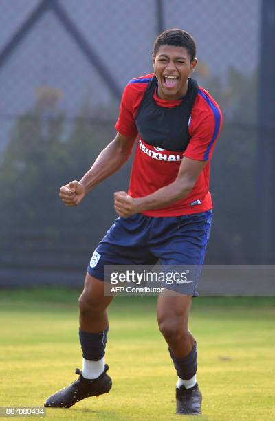 England's Rahim Brewster reacts as he trains with the team ahead of the final of the FIFA U17 World Cup match between England and Spain at the...
