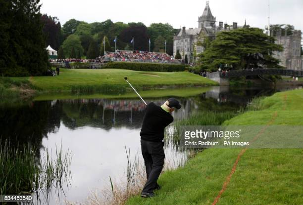 England's Richard Finch plays onto the 18th before falling into the river during the Irish Open Fourth Round at Adare Manor Hotel Golf Resort Adare...