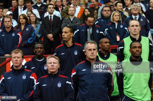 England's Rio Ferdinand looks on from the bench Darren Bent