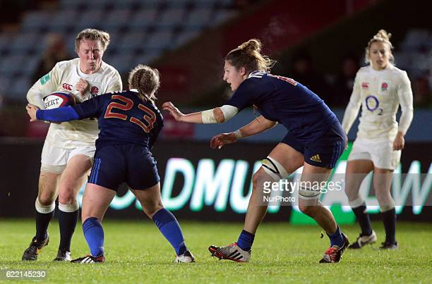 England's Rochelle Clark equal Jason Leonard's record 114 caps during Old Mutual Wealth Series between England Women and France Women played at...