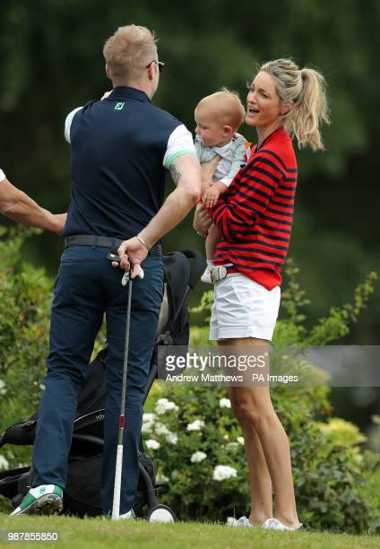 England's Ronan Keating chats with wife Storm and son Cooper during the Celebrity Cup charity golf tournament at The Celtic Manor Resort in Newport