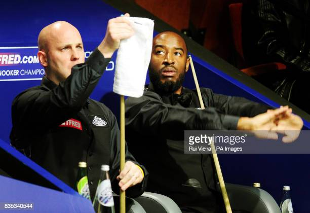 England's Rory McLeod and England's Mark King during the Betfredcom World Snooker Championship at The Crucible Theatre Sheffield
