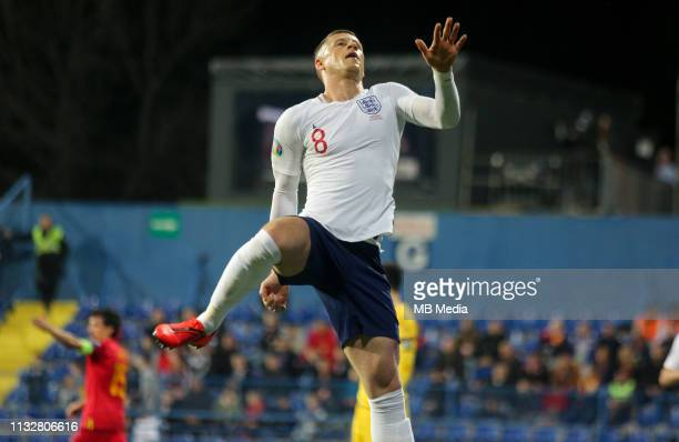 Englands Ross Barkley celebrates a goal during the 2020 UEFA European Championships group A qualifying match between Montenegro and England at...