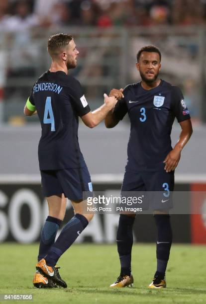 England's Ryan Bertrand celebrates scoring his side's second goal of the game with Jordan Henderson during the 2018 FIFA World Cup Qualifying Group F...