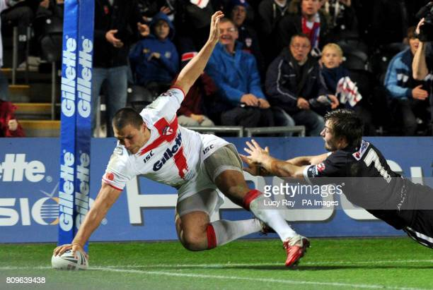 England's Ryan Hall scores a try during the Gillette Four Nations match at the Kingston Communications Stadium, Hull.