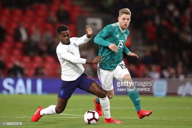 England's Ryan Sessegnon and Germany's Arne Maier battle for the ball England U21 v Germany U21 International Friendly Vitality Stadium