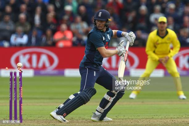 England's Sam Billings is bowled by Australia's Andrew Tye for 11 runs during play in the 2nd One Day International cricket match between England and...