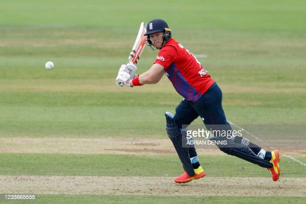 England's Sam Billings plays a shot during the third T20I between England and Sri Lanka at The Ageas Bowl in Southampton, south England on June 26,...