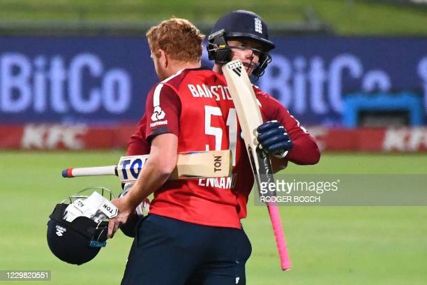 England's Sam Curran and England's Jonny Bairstow celebrates after their victory over South Africa during the first T20 international cricket match...