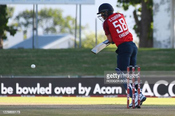 England's Sam Curran plays a shot during the second T20 international cricket match between South Africa and England at Boland Park stadium in Paarl,...